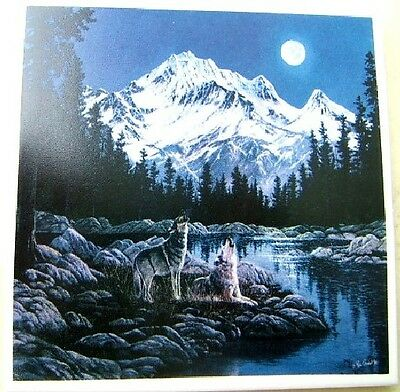 Ceramic Tile With Wolf Pack Snow Capped Mountains Wildlife