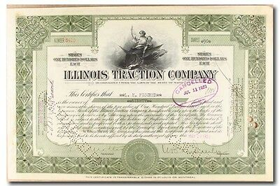 S232 Illinois Traction Company Stock Certificate Green