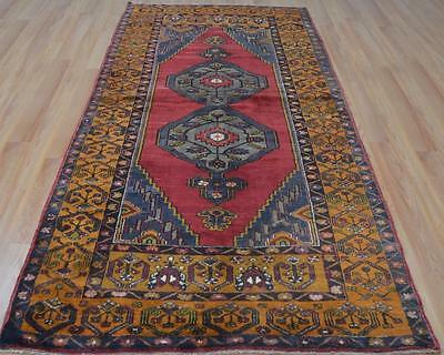 4'1x9'4 Lovely Carved Weave Persian Style Turkish Handmade Natural Dye Wool Rug