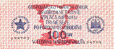 100 Lit Yugoslavian Occupation Trieste&istria 1944!unc Partisan Issued!p-S105!