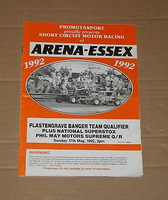 1992 Arena Essex P.R.I. Bangers & Superstox programme, 17 May