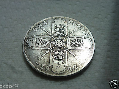 1922 One Florin Coin King George V Silver 2/- Two Shillings Coin Hunt
