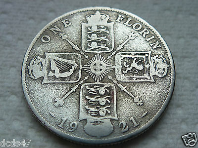 1921 One Florin Coin King George V Silver 2/- Two Shillings Coin Hunt //