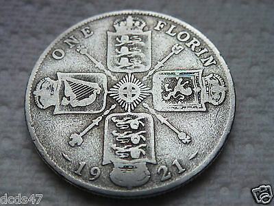 1921 One Florin Coin King George V Silver 2/- Two Shillings Coin Hunt
