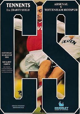 FA CHARITY SHIELD PROGRAMME 1991 Arsenal v Tottenham