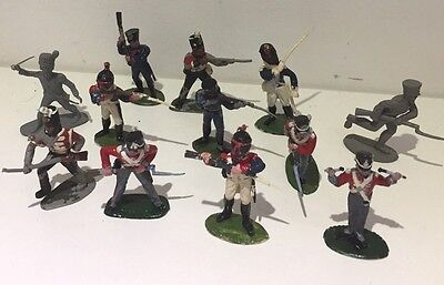 12 X French Waterloo Batallion Toy Soldiers Army Figures Britains Most Painted