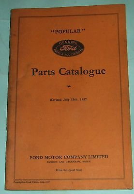Ford Popular Parts Catalogue From July 15, 1937.