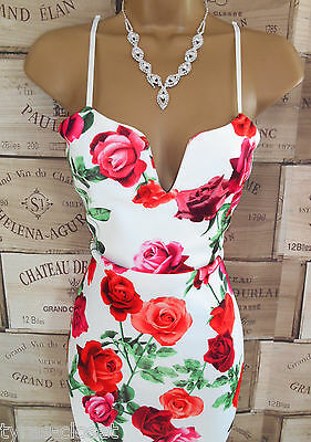 White Rose Floral Pencil Wiggle Cocktail Holiday Party Dress Size 10 BNWT