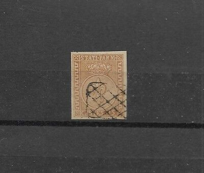 Parma sc#7, used 15c brn, forgery with forged cancel for use as reference stamp