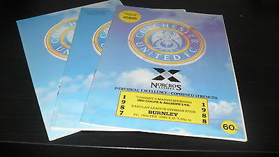 Colchester United 3nr Home Games 1987-88 inc Burnley/Fulham