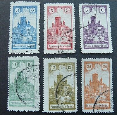 Zarkach: set of 6 vfu Local stamps from Poland