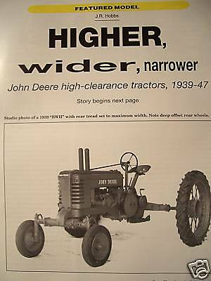 John Deere High Clearance Tractors ANH AWH BNH BWH HNH