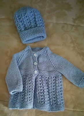 Matinee Jacket and Hat - Prem to Newborn - Pure Wool