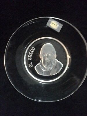 """Vintage  """" EL GRECO """"  Glass Plate .. Signed . Made in Belgium"""