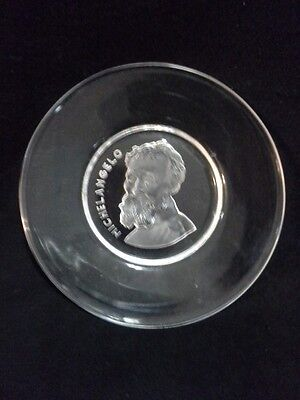 """Vintage  """" MICHELANGELO """"  Glass Plate .. Signed . Made in Belgium"""