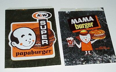 1960's A&W Root Beer Papa & Mama Burgers Foil Bags