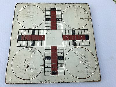 Antique Painted Game Board Parcheesi Checkers Wood Wooden AAFA Folk Art