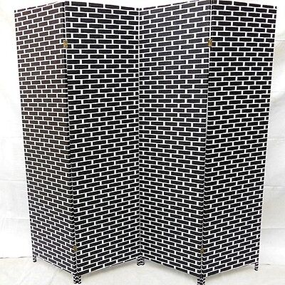1X Black&White Room Divider 4 Panels Folding Screen