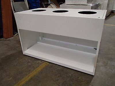 6x Rectangular Office Planter Box Display Unit with Storage Space White Metal