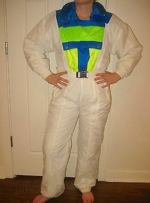 Vtg 80s DOWNHILL RACER Womens SMALL Onesie NEON Snow SKI SUIT Bib Coat Snowsuit