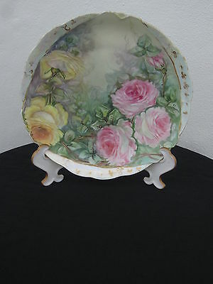 Antique Rare Germany Plate Hand Painted Roses Signed
