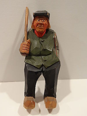 Wood Carving Carved Man by Gunnarsson Sweden 1952