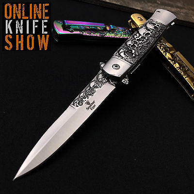 SPRING ASSISTED STILETTO KNIFE Tactical Folding Pocket Open Blade SILVER SKULLS