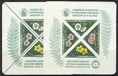 Hungary 1958 Brussells World Fair, Scott 1202a/b, VF MNH, imperf and perforated