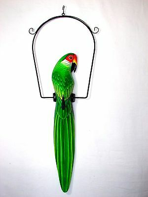 "25"" Beautiful Green & Yellow Parrot On Swing Wood Hand Painted Carved Bird"