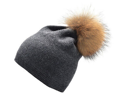 Gray Women Cashmere Wool Knitted Real Fur Pom Pom Ball Beanie Crochet Hat A392