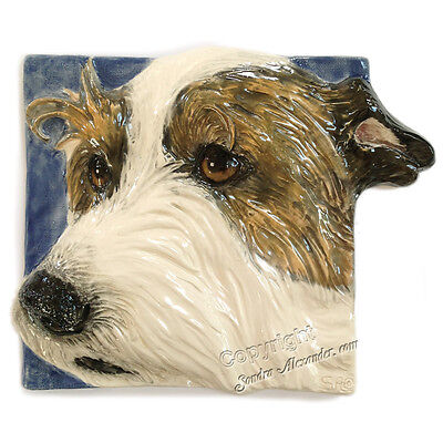 Wirehair Jack Russell Terrier Ceramic dog tile bas-relief Sondra Alexander Art