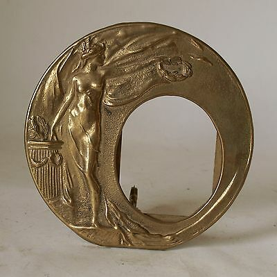 Vintage Retro 70s BRASS ART NOUVEAU ROUND PICTURE/PHOTO FRAME with stand