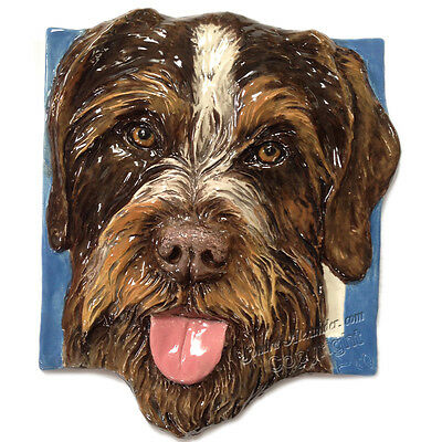 German Wirehair Pointer Ceramic dog tile bas-relief handmade Sondra Alexander