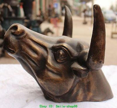 """14""""Chinese Bronze Carved Bull Unicorn OX Oxen Head Of 12 Animal Statue Sculpture"""