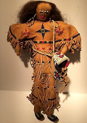 Wonderful Late 19th, Early 20th C. CROW / PLAINS BEADED HIDE DOLL w PAPOOSE, NR!