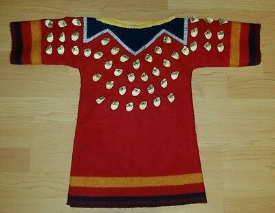 Rare Crow Indian Faux Elk Tooth Childs Ceremony Dress Hand Sewn Wool & Beadwork