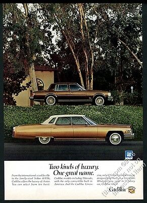 1976 Cadillac Seville and Sedan deVille car color photo vintage print ad