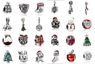 Hot Sale Silver Charm Christmas Beads Fit European 925 sterling silver Bracelet