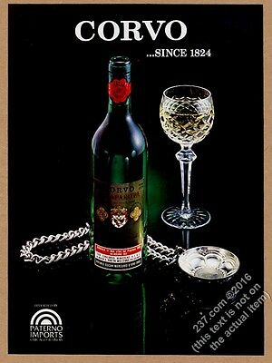 1980 Corvo white wine bottle photo vintage print ad