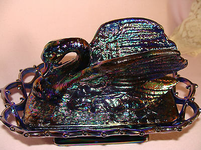 Westmoreland  LeVay Glass  CARNIVAL SWAN Candy Dish on open lace basket  62/500