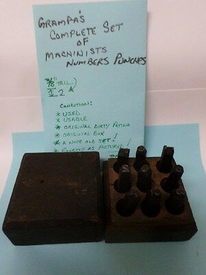 Grandpas Antique Complete Set of Numbers Punches Machinist Tools in Box Taps 3/8