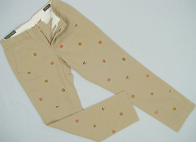 NEW Polo Ralph Lauren Embroidered Shield Crest Chinos (Pants)!  *Slim Fit* *Tan*
