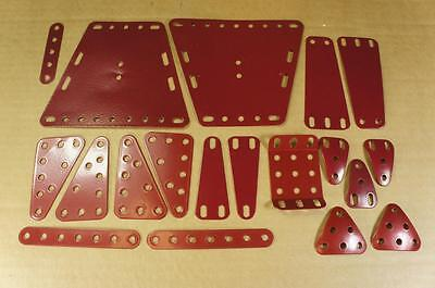 Meccano post 1980 selection of gloss finish wine red parts