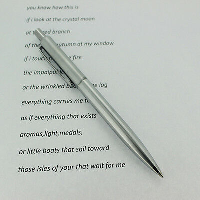 NEW BAOER37 Stainless Steel Metal Ballpoint Pen Silver Trim Office Accessories