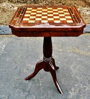 PERFECT burl Walnut and Maple inlaid Chess Board Table