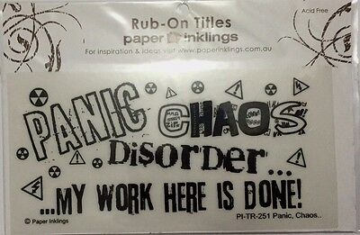 Paper Inklings Title Rub-Ons: Panic, Chaos **BRAND NEW**