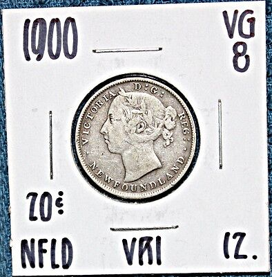 1900  VRI Newfoundland Silver 20 Cent Coin  FREE UNINSURED SHIPPING