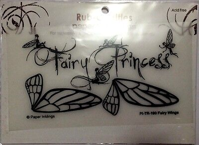 Paper Inklings Title Rub-Ons: Imagination Black Fairy Wings **BRAND NEW**