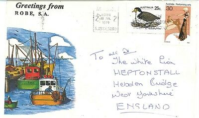 Robe South Australia stamp cover 1979 to UK sunbathers on back