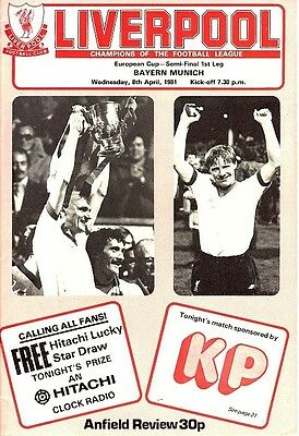 EUROPEAN CUP SEMI FINAL 1981: Liverpool v Bayern Munich